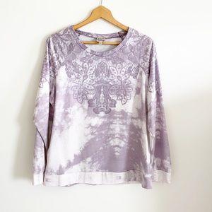 ComoVintage Purple/white LacePrint long sleeve Top